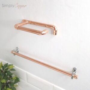 Copper Toilet Roll Holder Towel Rail 6 Sizes Chrome Fittings