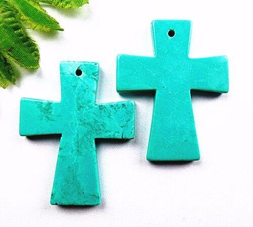 2PCS 51x41x5mm blue turquoise carved cross pendant bead Vk5529