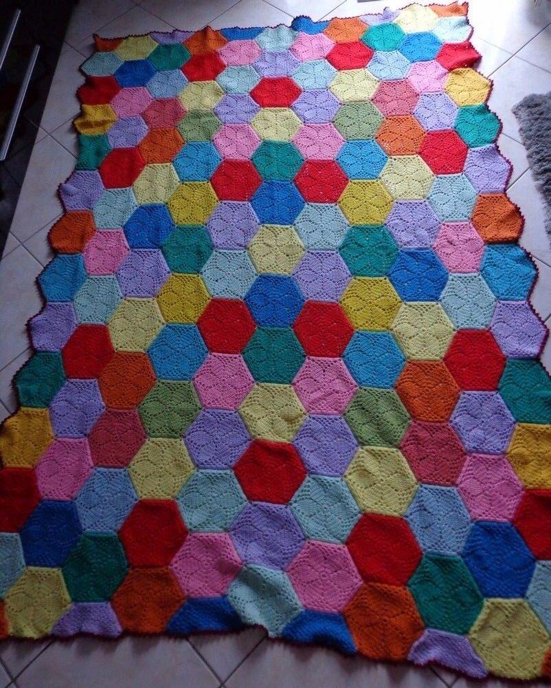CouGrünure de lit en laine 1 pers (L  220cm X l  153cm)  Fait main au crochet