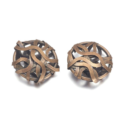 10pcs Antique Bronze iron wire wrapping Metal Beads Flat Round Loose Spacer 20 mm