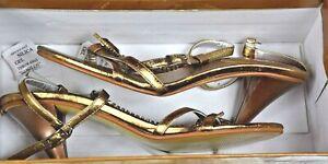 L-amore-Gold-Ladies-High-End-Heeled-Sandals-Size-38-8-AU-US-High-Heels-VGC