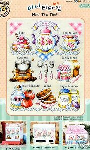 """Mini Tea time"" Counted cross stitch chart.(pattern leaflet) SODA SO-3121"