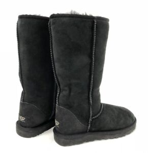 ef5993a81cd Details about UGG Australia Women's Classic Tall Sheepskin Suede Boots  Black Style 5815