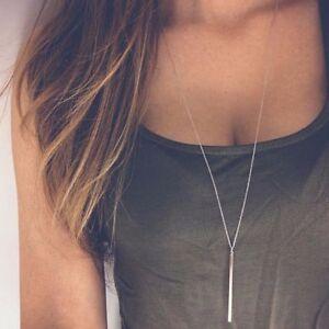 Lang-SCHMUCK-Kette-mit-Stab-Anhaenger-Minimalist-Design-in-Silber-Halskette-Gold