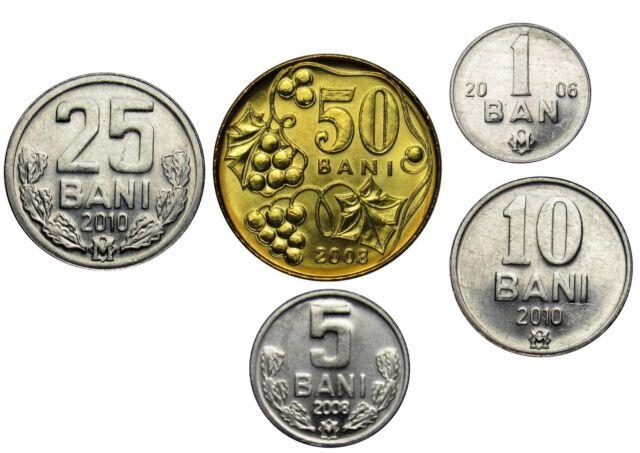 5-10-25-50 bani 1-2-5-10 lei Uncirculated 2008 set 8 coins Moldova 2018
