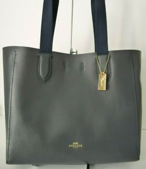 0f9c075844f Coach Derby Sz Medium Midnight Navy/Lapis Lined Pebble LeatherTote Shoulder  Bag