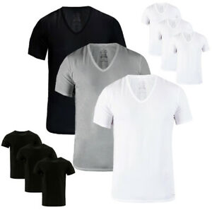 Calvin-Klein-3-Pack-Slim-Fit-100-Cotton-Men-039-s-V-Neck-or-Crew-Neck-Undershirts