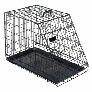 Dog-Transport-Cage-Crate-Metal-Removable-Plastic-Base-Carrying-Handle-Medium