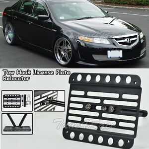 For Acura TL Front Bumper License Plate Holder Tow Hook - Acura tl license plate frame