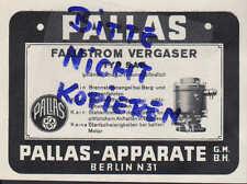 BERLIN, Werbung 1939, Pallas-Apparate Fallstrom-Vergaser Auto Kfz Brennstoff