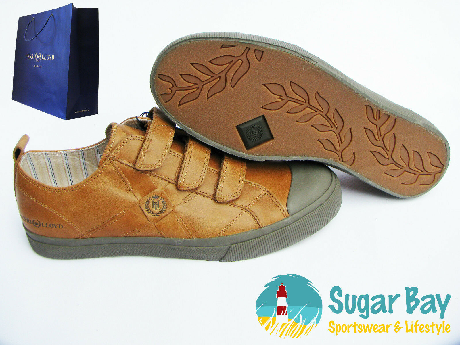 HENRI LLOYD WAVE STRAP Men's Leather Deck Trainers Shoes Tan Eu 46 US 12