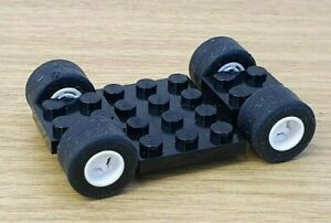 LEGO-Vehicle-Base-Part-2441-Black-Car-base-Chassis-Wheels-Smooth-Race-Tyres