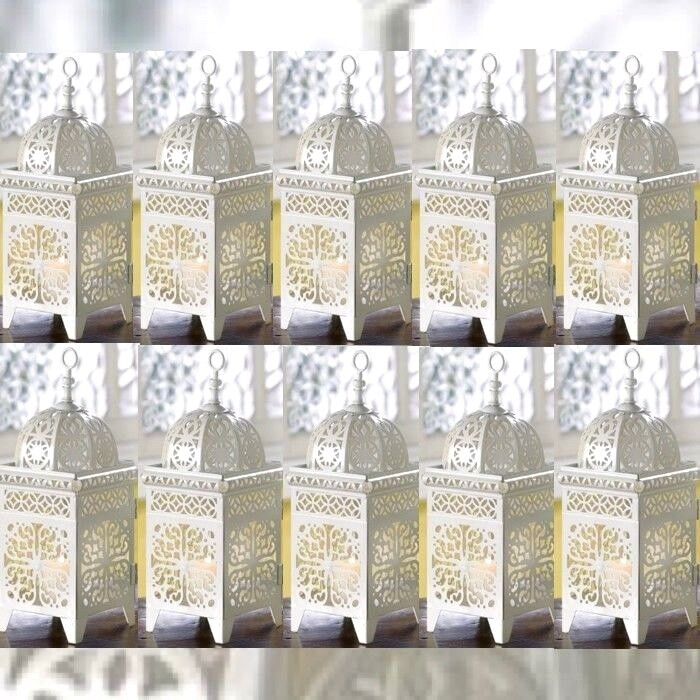 10 Lot White Mgoldccan Marrakech Lantern Candle Holder Wedding Centerpieces