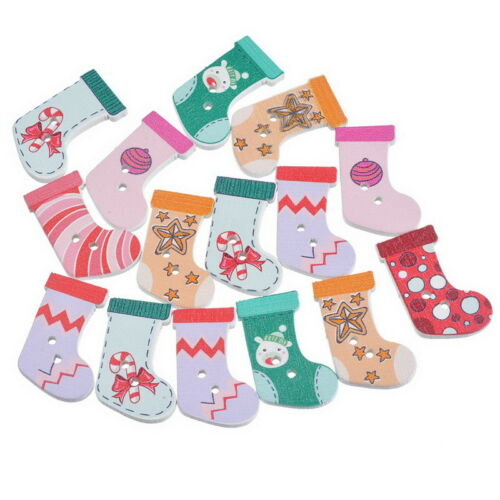 50pcs Wooden Christmas Stocking Buttons Socks Scrapbooking Sewing Buttons
