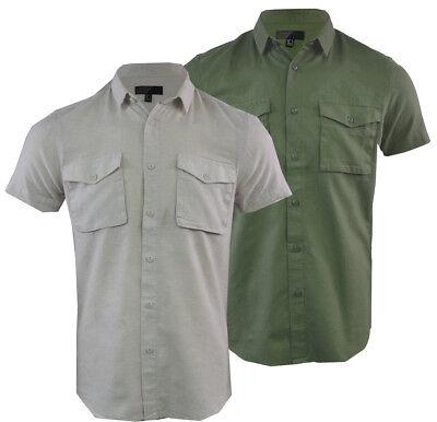 Mens Linen Short Sleeved Shirt Casual Summer Buttoned Down Collar S-XXL