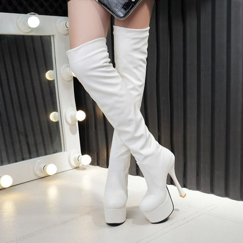 Womens Platform High Stiletto Heels Pull On Over Thigh Boots Party Club shoes