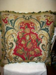 FRENCH-SCROLLS-AUBUSSON-NEEDLEPOINT-HUGE-FEATHER-CUSHION-PILLOW-FLORAL-FIGS