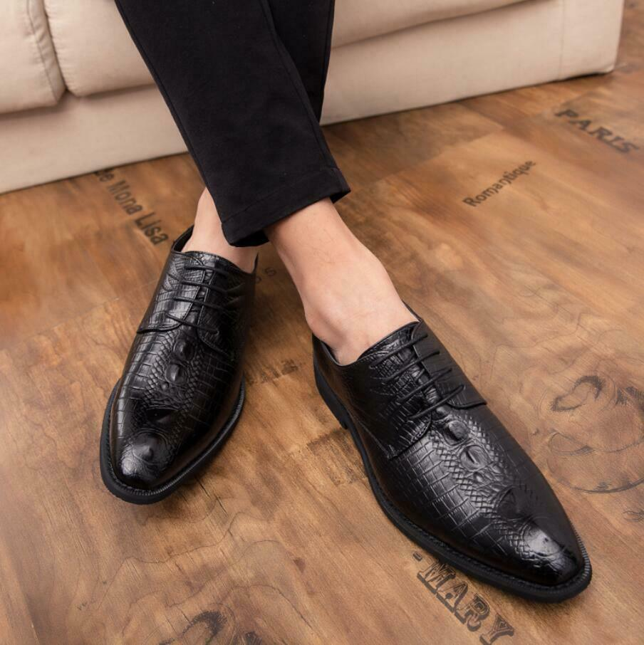 Fashion Men casual Brogue leather Pointed toe alligator lace up Oxford shoes New
