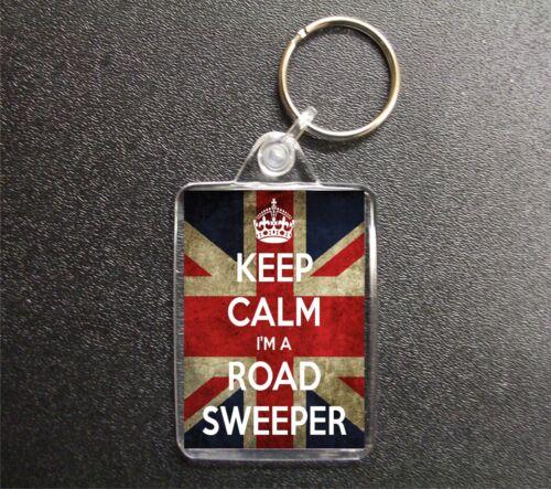 Keep Calm I/'m A Road Sweeper Union Jack Keyring