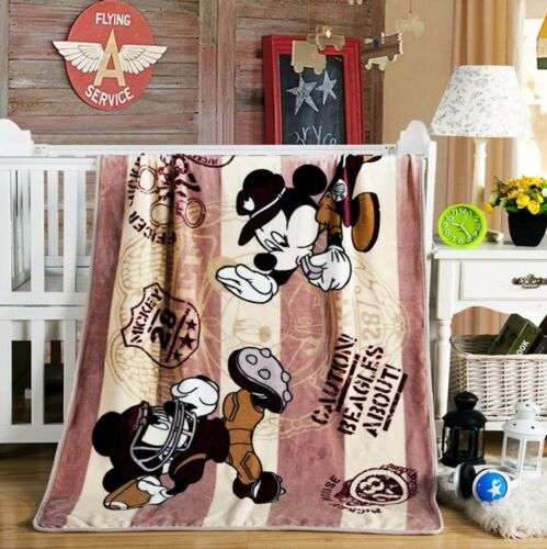 "Mickey Mouse Warm Blankets 39/""x55/"" Disney Soft Plush Silky Flannel Throw Bedding"