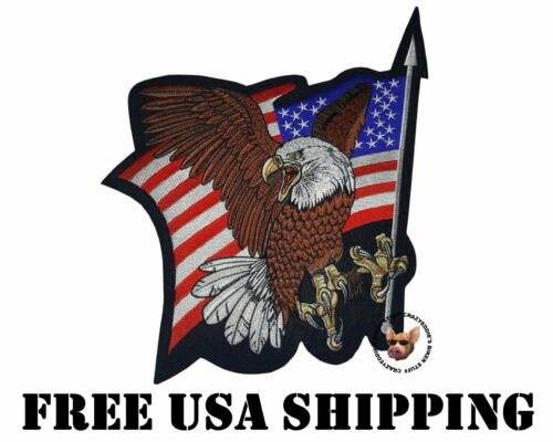 USA FLAG WITH SCREAMING EAGLE WITH OUTSTRETCHED WINGS 13.5 INCHES  FREE USA SHIP