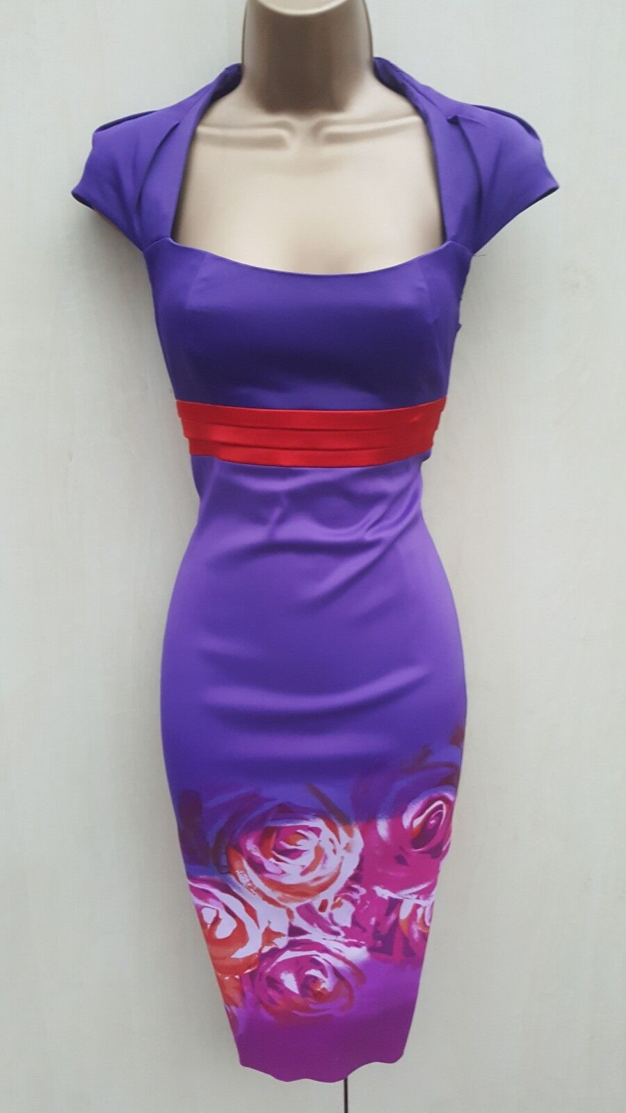 KAREN MILLEN PURPLE & RED FLORAL pink PRINT RARE GALAXY PENCIL DRESS 10 UK