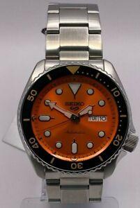 Seiko 5 Sports Mens Auto Orange Dial Stainless-Steel bracelet Watch SRPD59K1