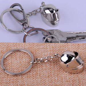 Silver-Metal-Motorcycle-Bicycle-Helmet-Key-Chain-Ring-Buckle-Fob-Creative-Gift