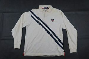 Ralph Lauren Sport Women/'s USA Flag Patch Rugby Shirt in Size S,L,XL in Gray