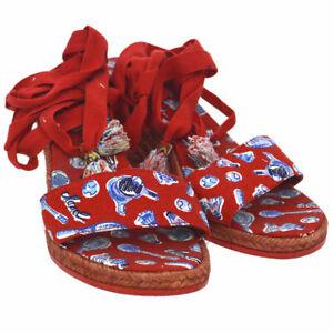 Authentic-CHANEL-CC-Shoes-Sandals-Red-Canvas-Raffia-Vintage-AK28787