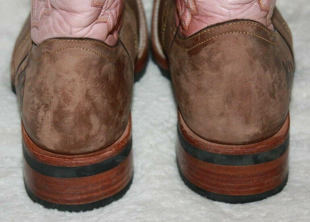 "REYME 11"" Ladies Brown & Pink Cowboy Boots Size 9 - image 9"