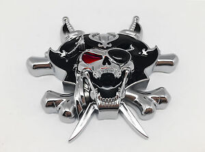 3D-Custom-Chrome-Pirate-Skull-Cross-knives-Evil-Emblem-Badge-Sticker-Decal
