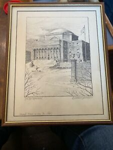 Low-Memorial-Columbia-University-Lithograph-6-10-Framed-Signed-Pencil-13-5-x10-5