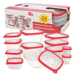 24 BPA Free Plastic Food Storage Box Containers Lids Set Microwave
