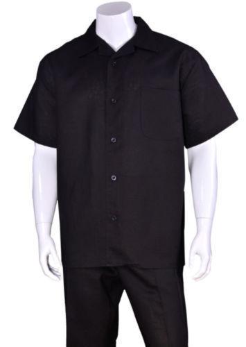 Men/'s 2pc Casual Walking Suit Luxury Linen Short Sleeve Shirt w// Pants Set L2806
