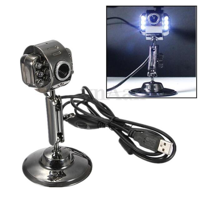 6 LED USB2.0 HD Webcam Web Cam Video Camera Mic Night Vision For PC Laptop Skype