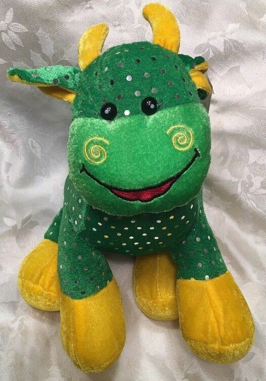 "10"" Rare NWT Fiesta Green Yellow Bull Plush 2000 Sparkle Cow Stuffed Animal"