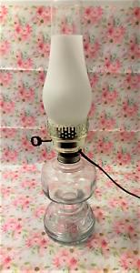 Vintage-Electrified-Clear-Glass-Oil-Lamp-Kerosene-Lantern-w-Frosted-Chimney