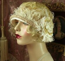 1920'S VINTAGE STYLE CREAM GOLD SEQUINED CORDED LACE FEATHER CLOCHE FLAPPER HAT