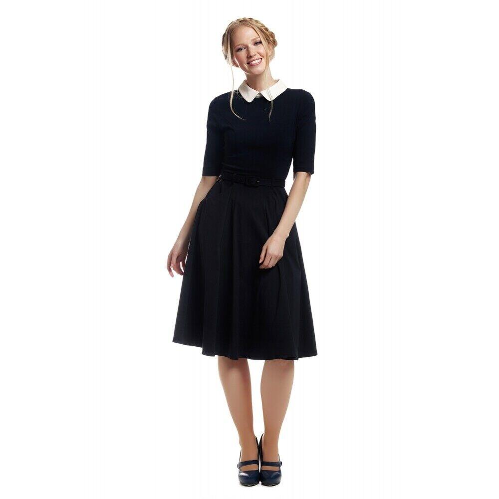 Collectif Vintage Winona Swing Dress Navy/White UK6