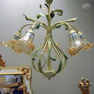 Lampadario sospensione classico ferro battuto 5l vetri for Camera da letto ferro battuto
