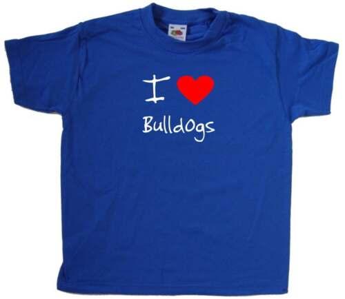 I Love Heart Bulldogs Kids T-Shirt