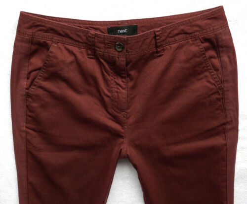 BNWT NEXT  ladies rusty red cotton chino tapered crop leg raw hems trousers  R L