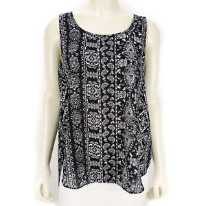 Hippie-Rose-Black-White-Sleeveless-Tank-Top-Blouse-Shirt-Women-039-s-Size-SMALL-NEW
