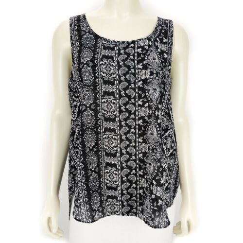 Hippie Rose Black White Sleeveless Tank Top Blouse Shirt Women/'s Size SMALL NEW