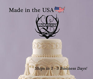 Deer Antler Cake Topper, Vine, Acrylic, Wedding, Last Name ...