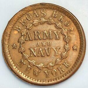 1863 Civil War Store Card Token ~ United ... Broas Bros.N.Y.  ARMY AND NAVY ~ R2