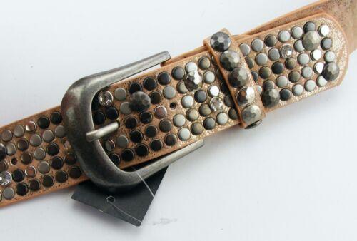Designer Nietengürtel  Glitzergürtel Damengürtel gold rosa  #RO6