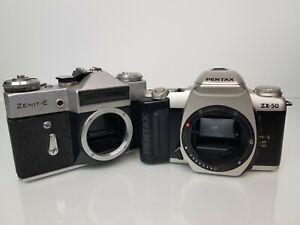 FASCIO-di-VINTAGE-35mm-Film-Telecamere-Pentax-ZX-50-e-fotocamere-ZENIT-E-NON-TESTATO