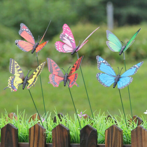 15pcs artificial butterfly garden decorations simulation stakes yard plant ZP